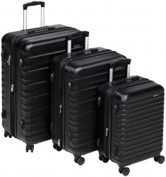 AmazonBasics Hardside Spinner Luggage, Black