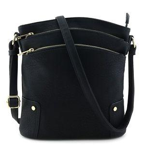 Alyssa Triple Zip Pocket Large Crossbody Bag