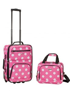 Rockland Luggage 2 Piece Set, Pink Dot, Medium