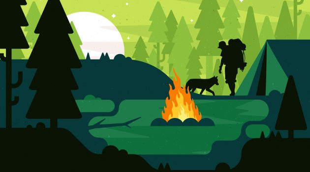 campfire-hiking-background-backpack